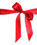 Tied Red Holiday Anniversary Ribbon Bow on White Background